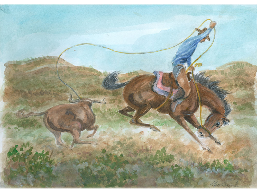 Geo Appel  Cowboy Lasso & Bull 9 x 12.jpg