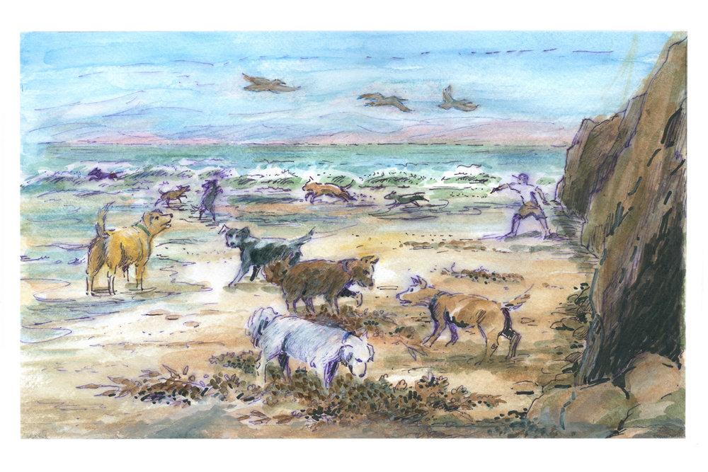 Geo Appel Dogs on Beach 10x15.jpg