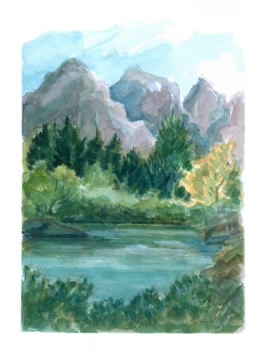 Geo Appel Lake, Trees Mtns I 9x12.jpg