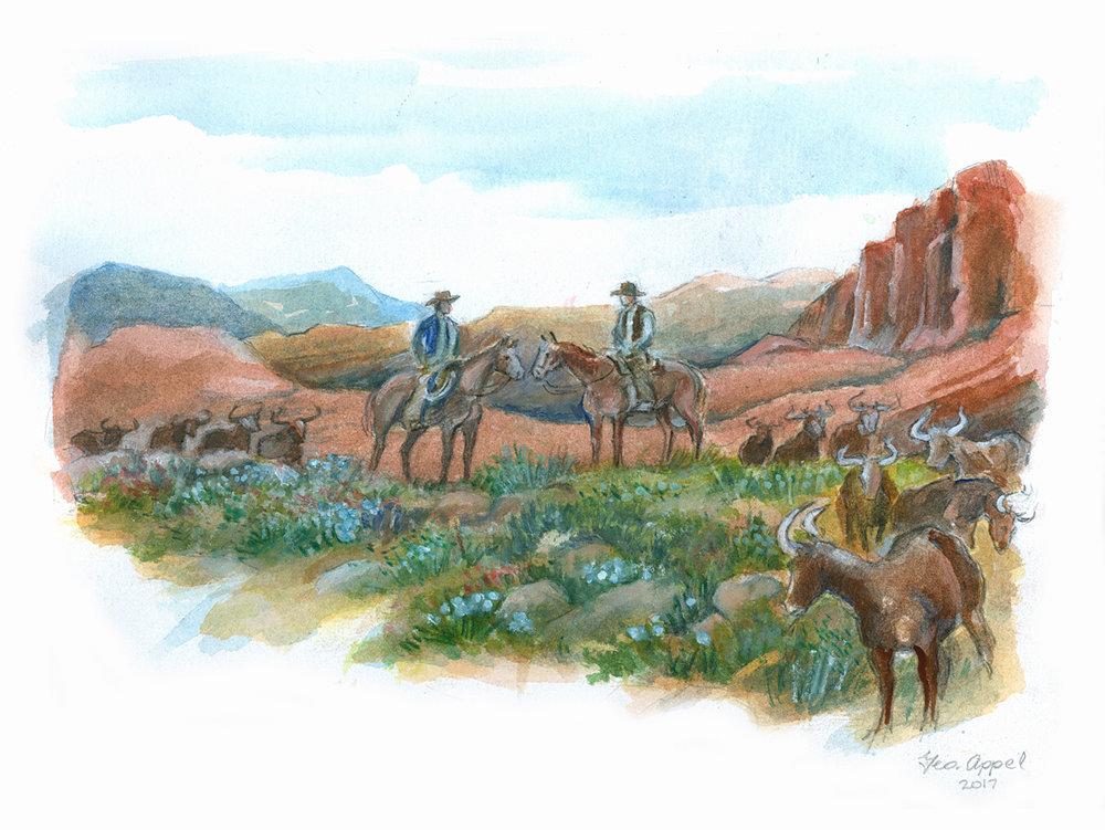 Geo Appel Riders & Longhorns 9x12.jpg
