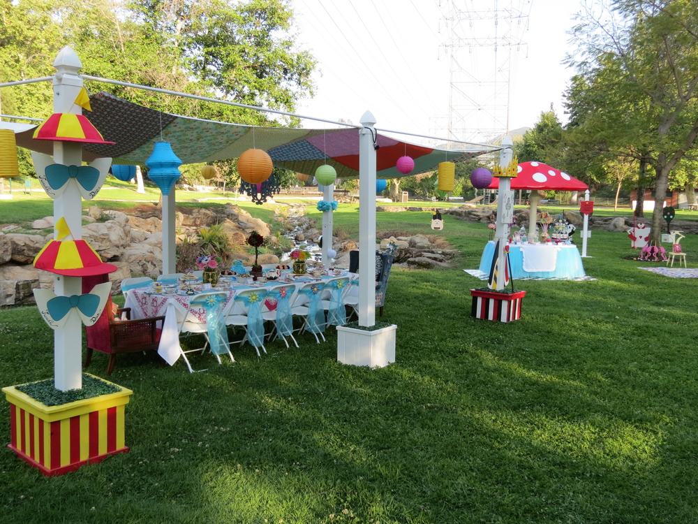 Alice's Traveling Tea Party main table and canopy