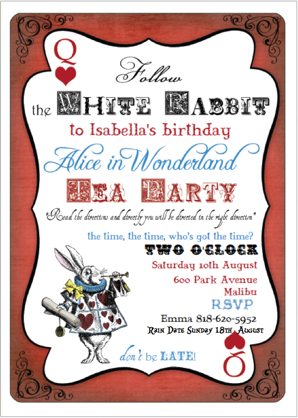 Alice's Traveling Tea Party Invitations
