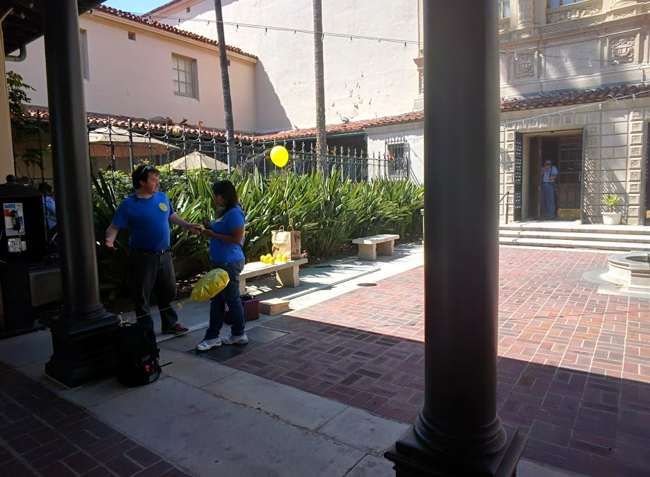 GC waiting for us with portable lemon balloons affixed to a backpack.