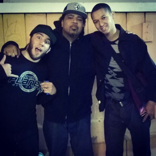 Denny Prokopos, Rakaa Irsicience and Purple Yin Poison after rolling and recording.