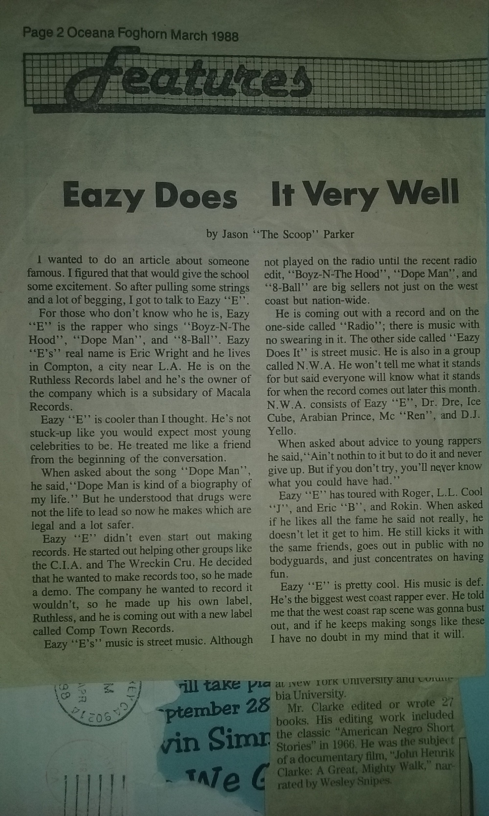 Possibly the first article on Eazy E ever done. Written by a kid obsessed with rap.