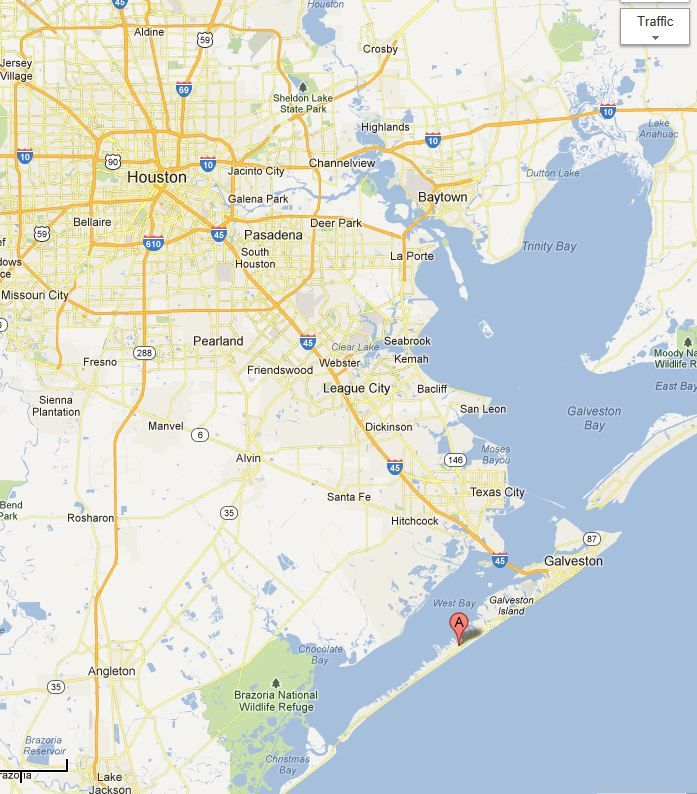 Galveston Island is southeast of Houston