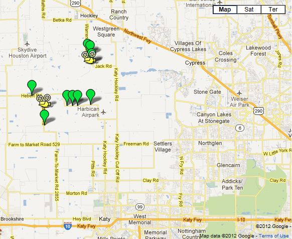 Katy Prairie Conservancy sites. Downtown Houston is east of this location