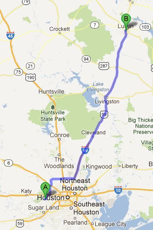 Houston to Lufkin, 138 miles