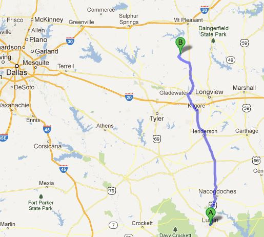 From Lufkin to the Lake near Pittsburg, Texas