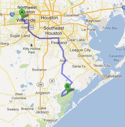 Brazoria National Wildlife Refuge - about 75 miles
