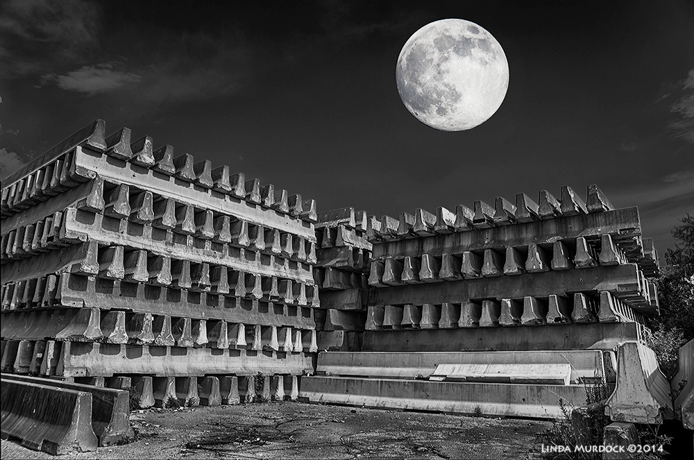 Super Moon shining on the Mayan ruins....I mean Jersey Barriers... Sony A77 II with 16-50 DT  f/7.1 ISO 400 - post-processed  NIK Collection  HDR and Silver Efex Pro 4