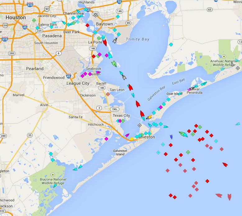 Typical traffic from the Gulf of Mexico up to Port of Houston. Notice they all pass by the Texas City Dike    From MarineTraffic.com