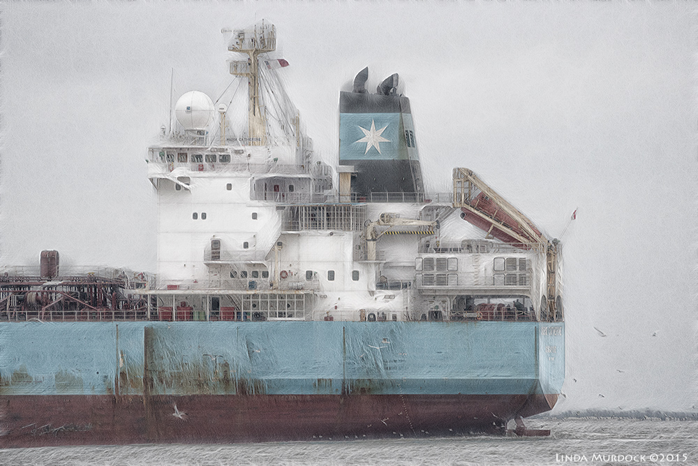 Maersk Catherine - serious post-processing to make her look ghostly    Sony A77 II with 70-400mm G2 1/1250 sec. f/5.6 ISO 1250