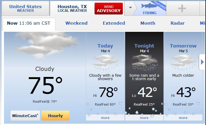 "Can you believe this? One day it ""feels like 80F"" and the next is ""feels like 30F""    Weather guestimate via accuweather.com"