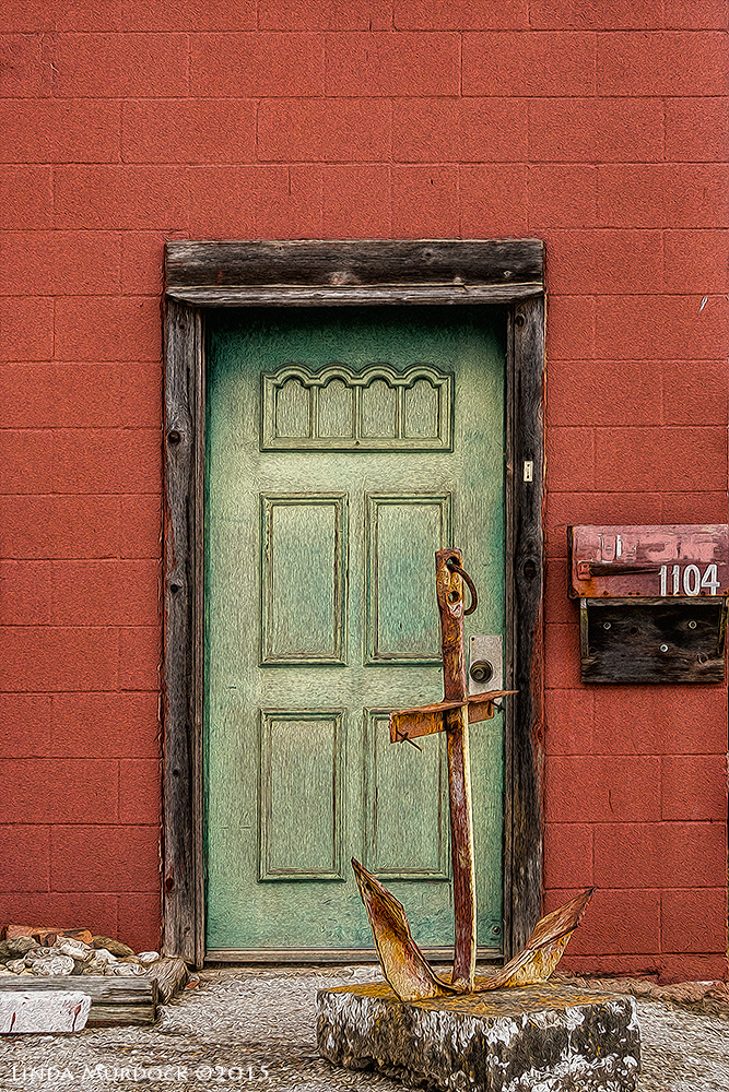 Green door...with anchor.