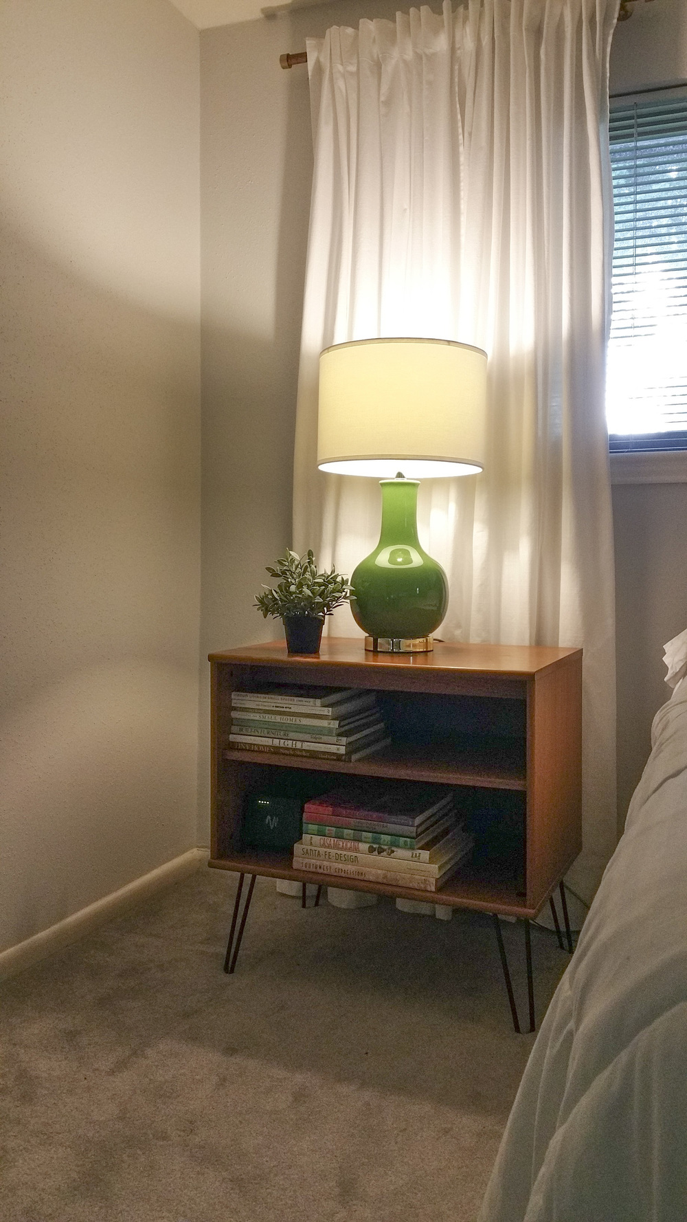 DIY project turning TV cart into nightstand - phone photo