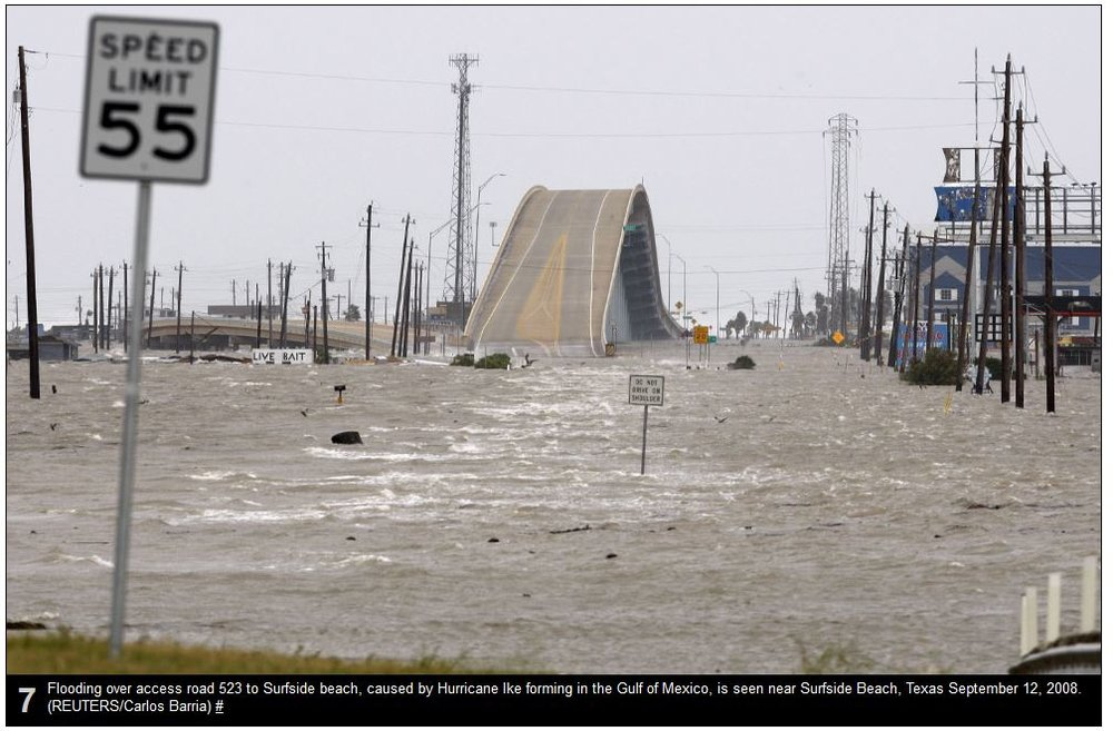 Photo taken looking toward Surfside just after Ike. The caption is wrong, this is Hwy 332 and the shipwreck would be off to your left.