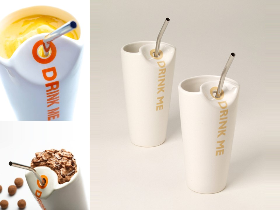 A cup for a cold chocolate drink.  Material: porcelain, stainless steel.  Size: H16 x W8 cm Client:  Max Brenner Chocolate Bars