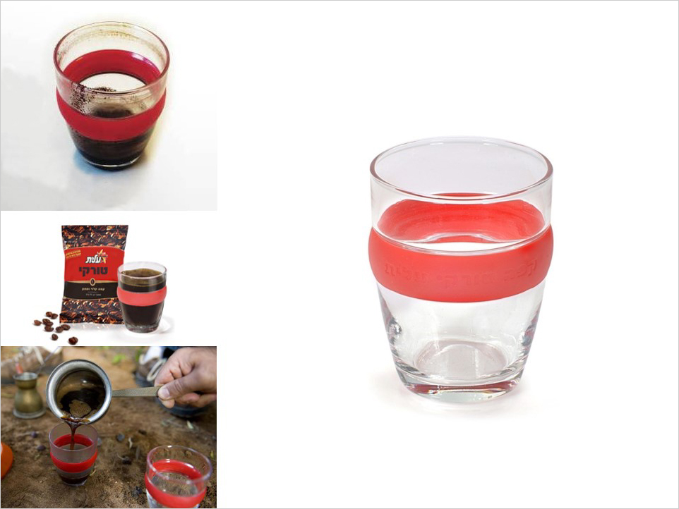 Drinking hot coffee from a glass may burn your fingertips. This coffee glass with rubber band protection has been designed as a promotional product for a Black Coffee manufacturer. Material: glass, TPR. Size: H9 x W7 cm Client: Strauss-Elite Company