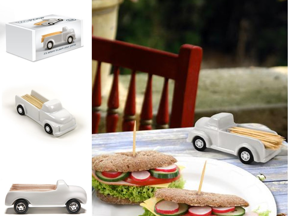 A toothpick pick up.     Material: stoneware ceramic, rubber wheels.     Size: H5 x W12 cm  Client- Fred&Friends
