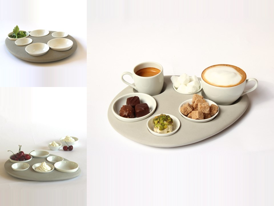 Playful serving tray.     Material: Concrete and Porcelain     Size: H30 x W21 cm  Client: C-Kesher Clinic.