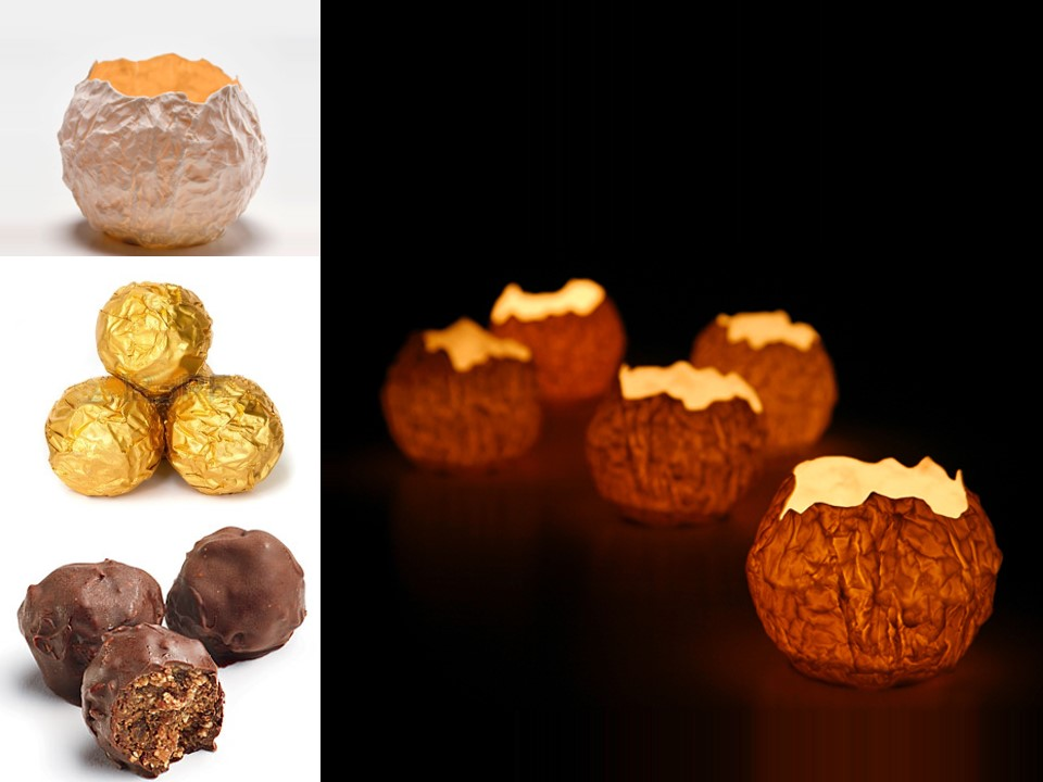 Porcelain candle holders inspired by bitted chocolate truffle. Material: porcelain   Size: 8H cm x 8W cm Client:  Max Brenner Chocolate Bars