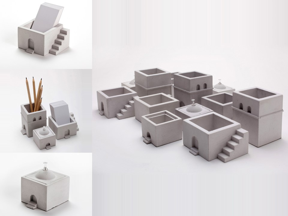 This collection of office accessories designed for  Umm el-Fahem branch of the Enosh Association  and produced by people with special needs.  Design: Iris Zohar and Erez Mulay   Material: concrete cast.  Size: small house- H6.5 x W5.5 cm           medium house- H5 x W7 cm           big house- H9 x W7 cm  Client: Enosh Association
