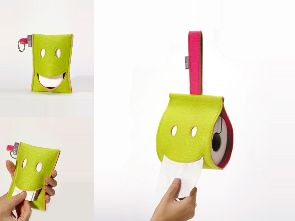 Smiling tissue and toilet paper dispensers.   Material: industrial felt   Size: H13 x W10 cm Client: Iggy
