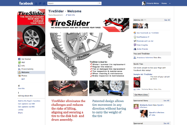Tire Slider New Business needed a simple quick Facebook Access Page.