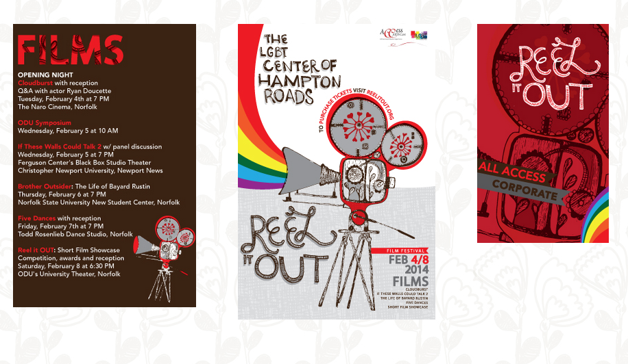 LGBT Reel it out Festival, Norfolk Virginia. Illustration, Logo, Layout, New Brand Development.