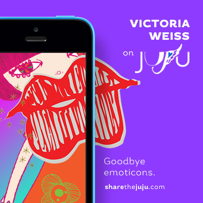 My  illustrations are now available in a creative iPhone app! JUJU App support artists while allowing you to mashup art from artists around the globe. Download JUJU and text some around: http://bit.ly/getjujuapp // #sharethejuju