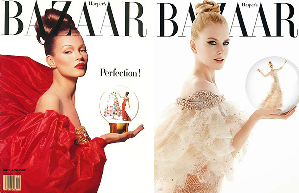 The image on the left was shot by Patrick Demarchelier for Harpers Bazaar for the December edition in 1992. The copy on the right was for the December issue in 2013 and recreated by James White. I think its pretty clear that White was requested to copy Demarchelir, whether it was by the magazine or an art director, either way this is an example of a direct copy but White still applied his own style, most noticeably with the lighting . He decided to soften the whole look, whether for his own benefit or for Kidman's, the light in White's' image is far more flattering and by adding additional lights from behind he's enabled more dimension with the very diffused key light. I would definitely argue that this is an  evolved copy.