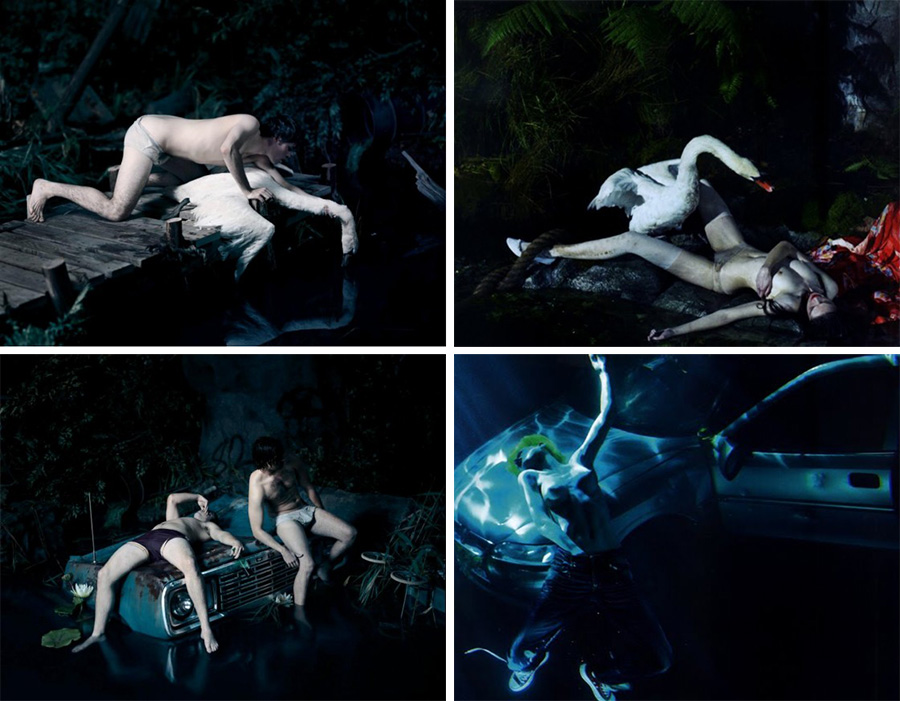 Finally we have Mert and Marcus' most famous copy; on the left we have two images by Jeff Bark from 2009 and on the right we have the 'copy kings' Mert and Marcus doing what they do best. This particular photoshoot of theirs caused huge controversy at the time and although they're very open about their copying they do usually make more of an effort to add their own mark than this. In fact I am personally inclined to believe that this may well of been more of a marketing ploy by them at the time and a risky one at that (I'd also like to point out that this was huge exposure for Jeff Bark too and if you google the guys name, its always these shots that appear). I don't think there is actually many high profile shooters who could get away with this level of immaculate copying without receiving a back lash from the industry, I think it's because they have always been so open about their copying in the past that everybody just accepted it as just that, a copy and everybody appreciated it for what it was. Brave but bold and Mert and Marcus made considerable ground on making copying more acceptable purely because if top tier shooters like them can do it, then we all can.