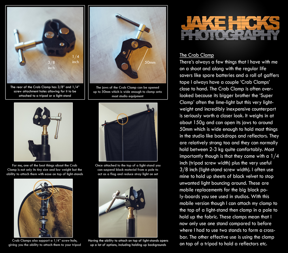 The Crab Clamp   Tonight I thought I'd share a little review on a very inexpensive piece of kit that I always have with me on shoots, the 'Crab Clamp'.