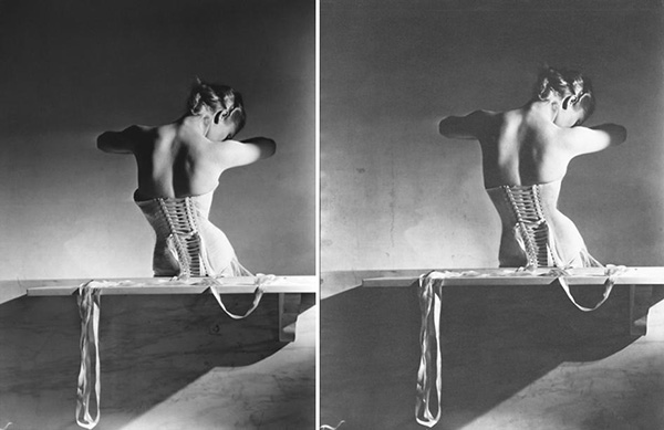 This is one of Horst's most famous images, the Mainbocher Corset shot 1939. On the left we have the original and on the right we have the retouched version. In the exhibition we can clearly see more detail and notes on the process but the work was so well done that even upon closer inspection you couldn't tell without seeing a side by side comparison.  Image: Horst