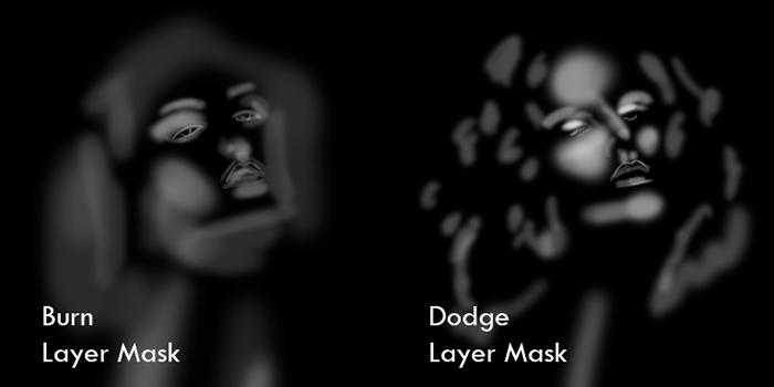 This is an example of what my dodge and burn masks look like when they're selected. Areas to burn are usually enhancing the makeup and defining the lips where as areas to dodge are the forehead, cheek bones and hair etc.