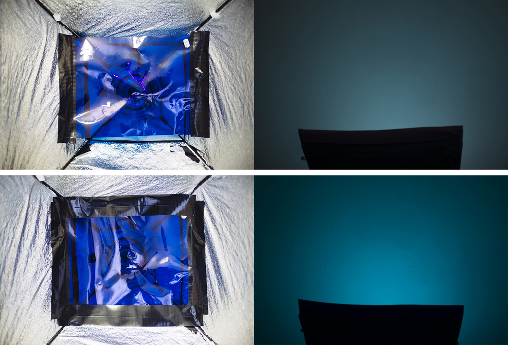 The top images here show that I have only taped the gel inside my softbox on two sides. The resulting righthand side image is showing a paler, washed out colour that is very susceptible to being washed out even further by other lights in the setup. The image at the bottom shows the gel taped in completely on all four sides so that no white light is allowed to escape and wash out the desired colour resulting in a rich and highly saturated colour.