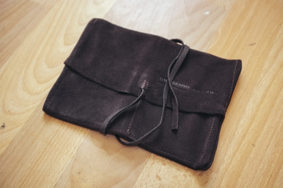 A leather lens pouch that anybody who's spent this much on a lens would never use….ever