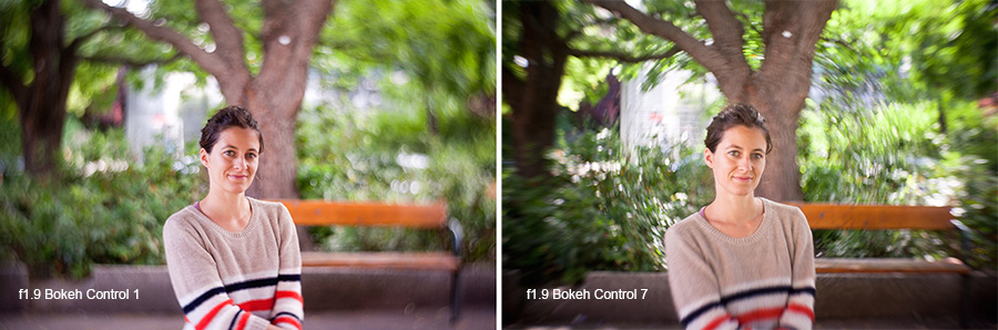 You can see that at the same aperture value the bokeh control produces very different looks and more is not necessarily better. The lower bokeh control values create fantastic separation between subject and background whereas the higher values creates more swirling. Image taken from the lomography website and is owned by them and not my own