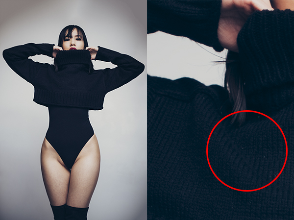The circled area here highlights a common problem when photographing dark coloured clothing; the omnipresent dust, fluff and hairs that plague the finer details of our fashion and portrait shots.