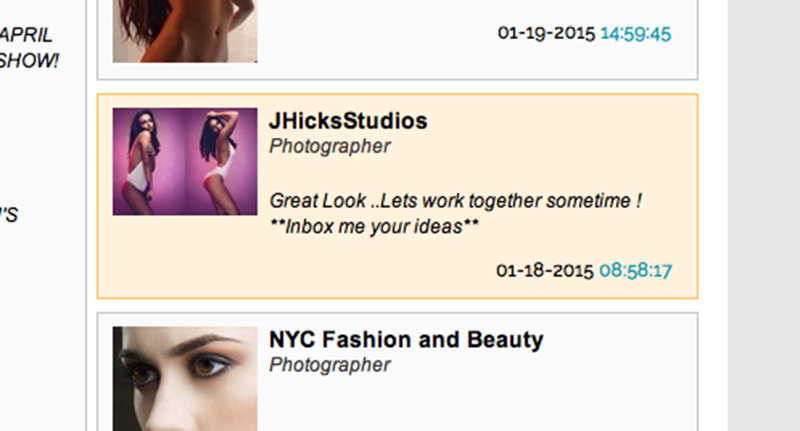 A got a lot of hits for my images under the name 'JHicksStudios'. It turns out I had a copycat using my images and name to set up shoots with models on Model Mayhem.