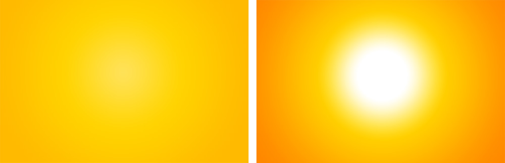 In the two images above we can see how the two different variations of a gelled background. The gel is shone against a white wall and depending on different factors you can either achieve a more even tone like the background on the left or a more vignetted background with hotspots and darker edges like the background on the right.