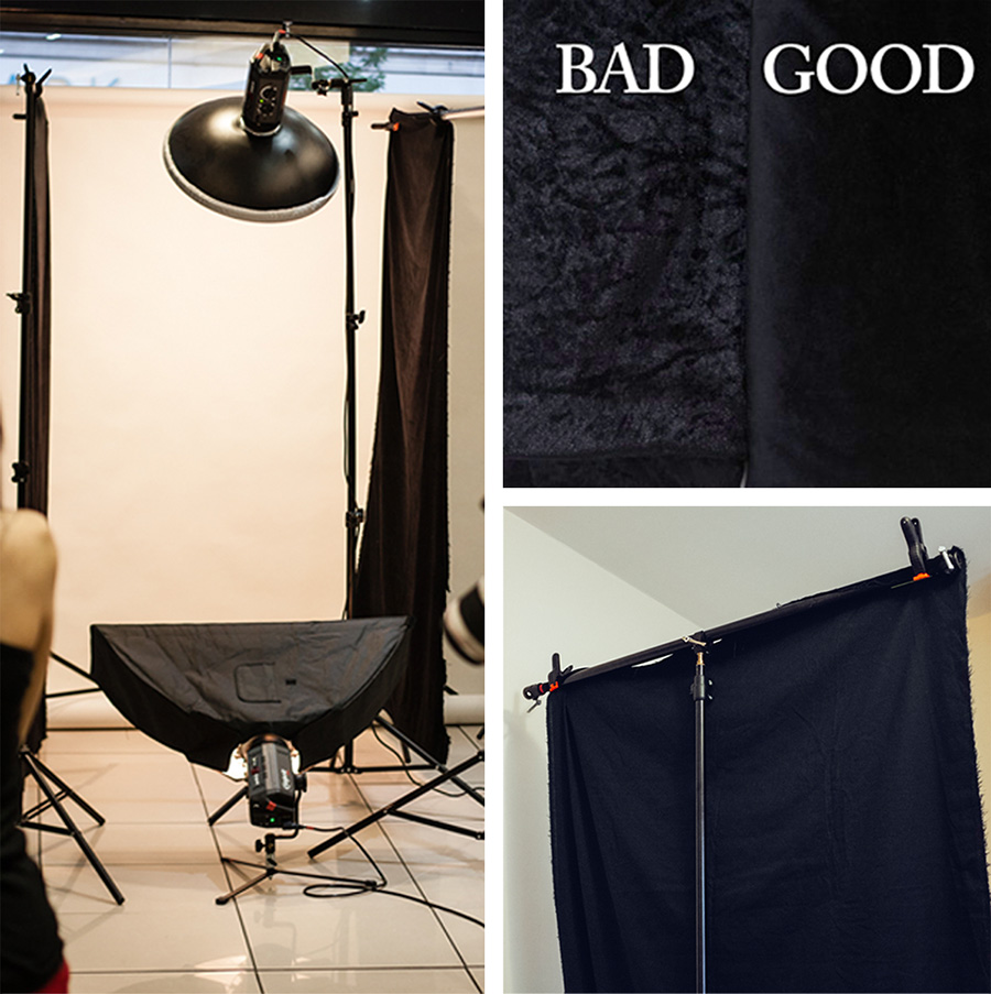 I use black velvet sheets as flags instead of the large poly boards when I'm on location. They are portable and cheap but just make sure you get the cotton based version as the synthetic one acts more like a reflector than a flag.