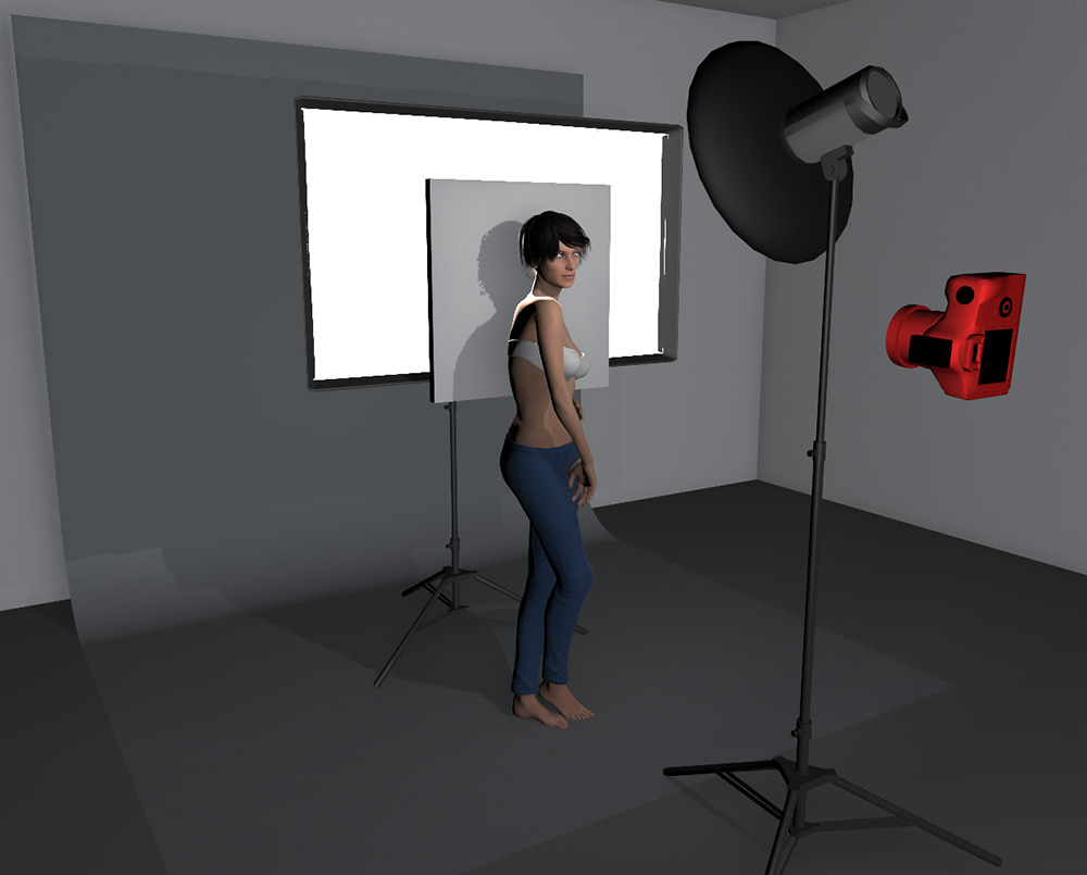 With the addition of a white board between the model and the softbox behind, we can gain a lot more control over how much of the highlights are blown on the model's skin.