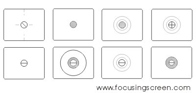 Some examples of focusing screens. Image courtesy of focusingscreen.com