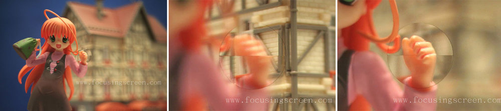 If we take a look at the image above we can see what the viewfinder in an older SLR looked like. We have our split-focus focusing screen and in the centre image we see what the scene looks like when the hand is out of focus and in the right-hand image we see what the focusing screen looks like when the hand is in focus. With a focus screen like this in your camera it is very easy to tell when we have correctly focused your shot as the two images visually align. Images courtesy of focusingscreen.com