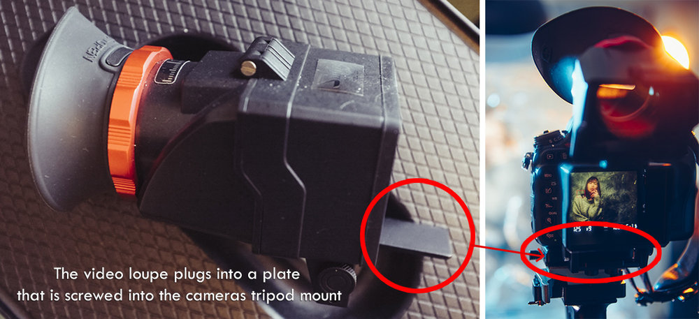 The video loupe comes with a mount that you attach to the cameras tripod screw mount. You can then slot the video loupe on and off very quickly and easily via the slot attachment you see here.