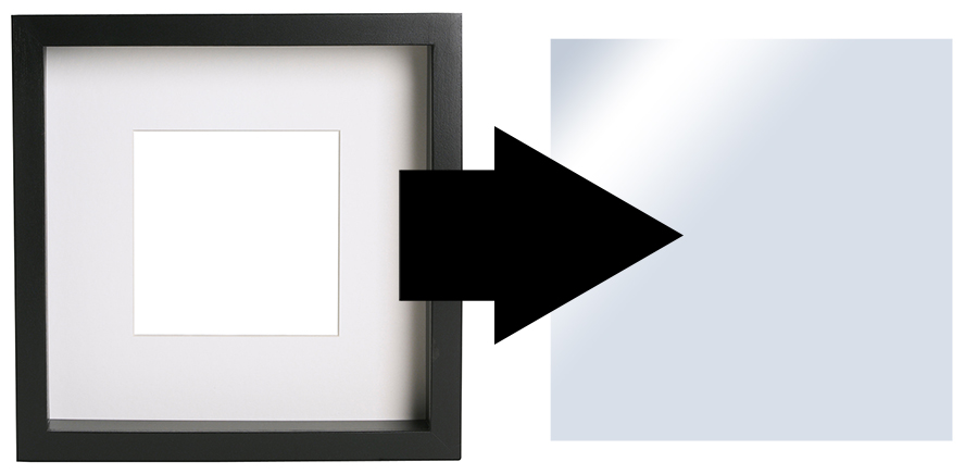 For my piece of glass I simply removed the glass that was in a large picture frame. Be careful though as this type of glass is often extremely sharp and fragile. If you can find some good quality perspex then that is definitely safer and a lot easier to work with.