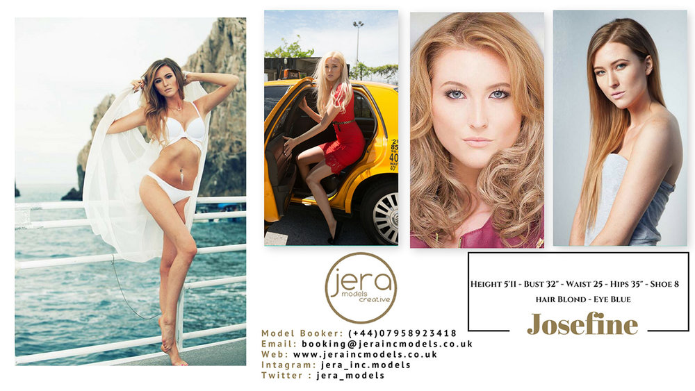 A model comp-card is simply a selection of commercial looking images of your chosen model with her physical stats clearly displayed. Your modelling agency will easily be able to send you a range of these comp-cards within the chosen parameters you have stipulated. Model Josefine above is represented by Jera Models Creative
