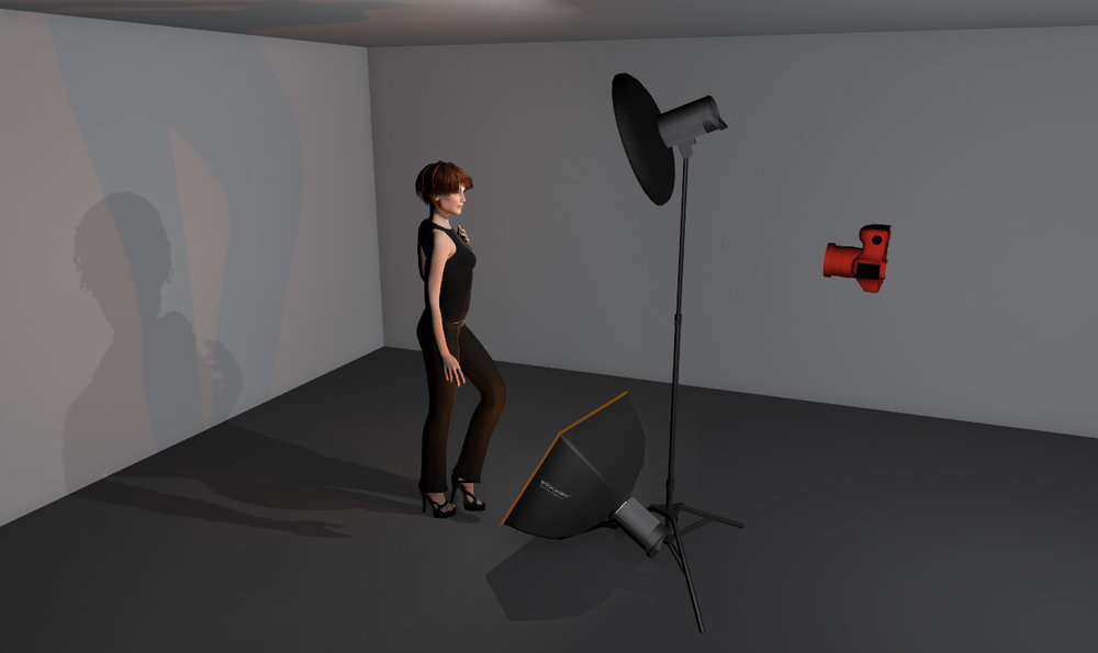 A very simple setup that involves two lights; a key and orange gelled fill light.